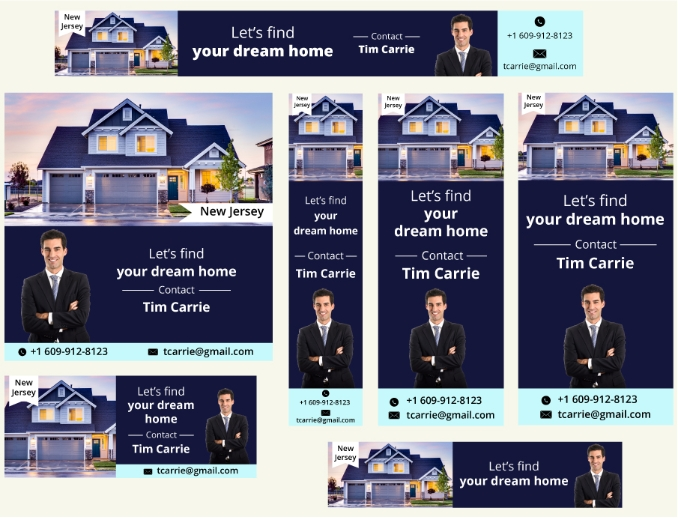 Real estate agent Ads - 7 diffrent style collage